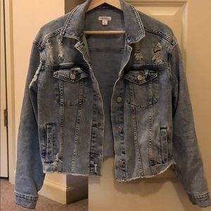 Denim Cropped Jacket with Destressing